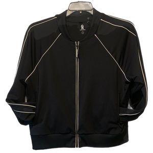 Good American Full Zip Sweater Black White Large